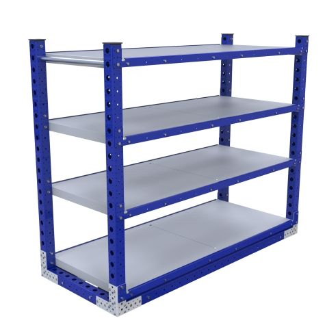 Four-level flat shelf push cart, most commonly used for transportation of totes/bins/boxes or loose components.