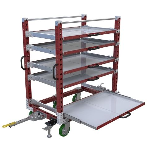 Five level extendable shelf tugger cart with extendable shelves.