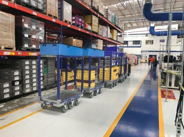 Shelf carts at Autoliv