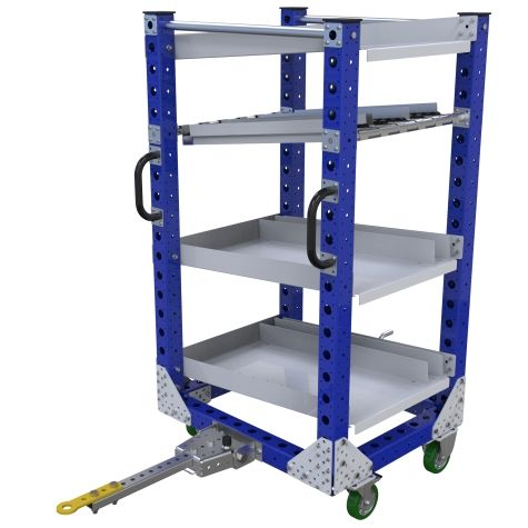 Four level tuggable flow shelf cart