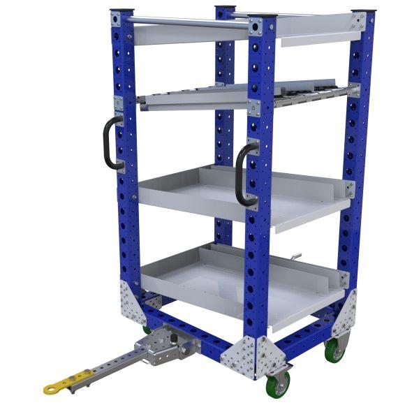 Four level tuggable flow shelf cart