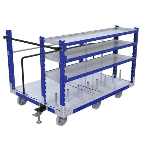 Three level shelf kit cart where totes and smaller parts can be placed on the shelves while larger panels can be placed on the larger open area.