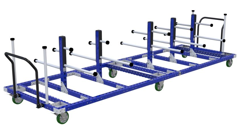 Hanging cart designed to store and transport large panels between warehouse and assembly area