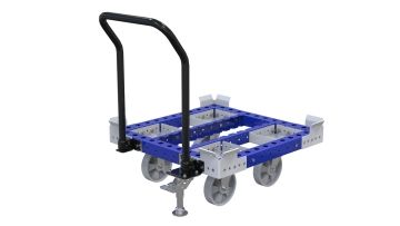This pallet cart was designed for transporting pallets and containers or bins and boxes.