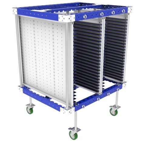 KIt cart designed to store and transport motherboards.
