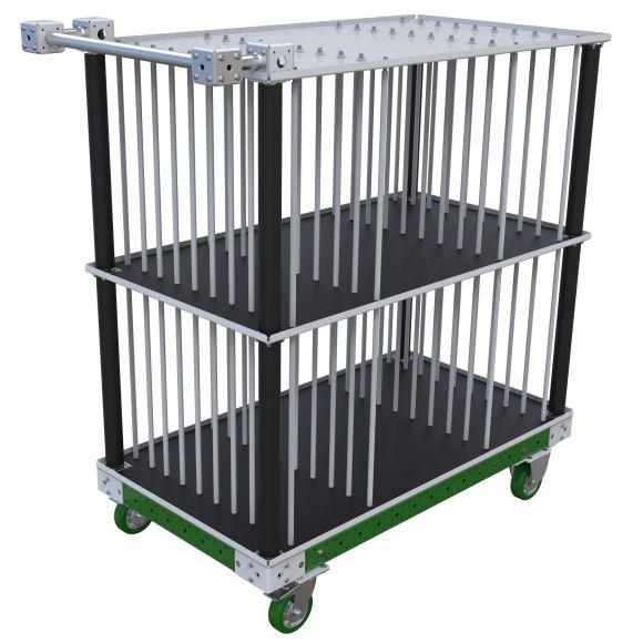This cart was designed to store and transport doors between the warehouse and assembly lines.