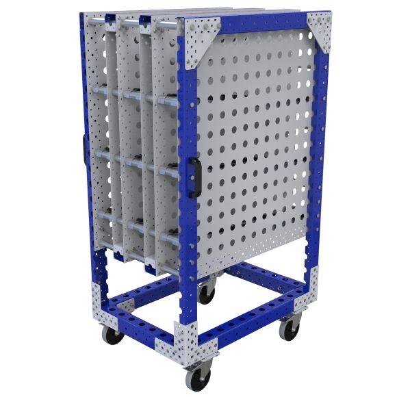 Three-level flow rack push cart.