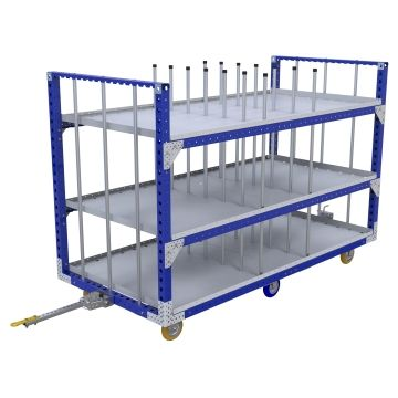 Tuggable three level flat shelf cart.