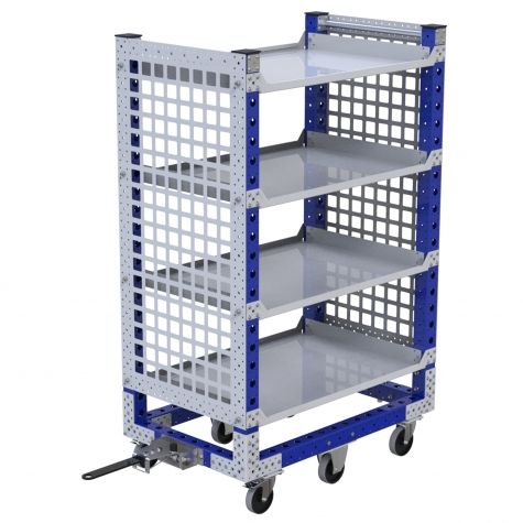 Tuggable flat shelf cart.