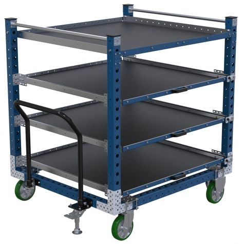 Extendable shelf push cart for transportation of totes/bins/boxes or loose components.