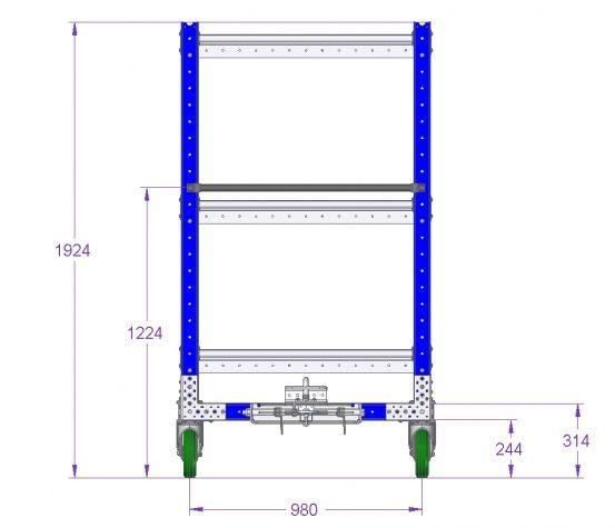 Flat Shelf Cart 55 x 41 inch