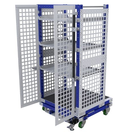 Shelf cart designed to use when preparing orders.