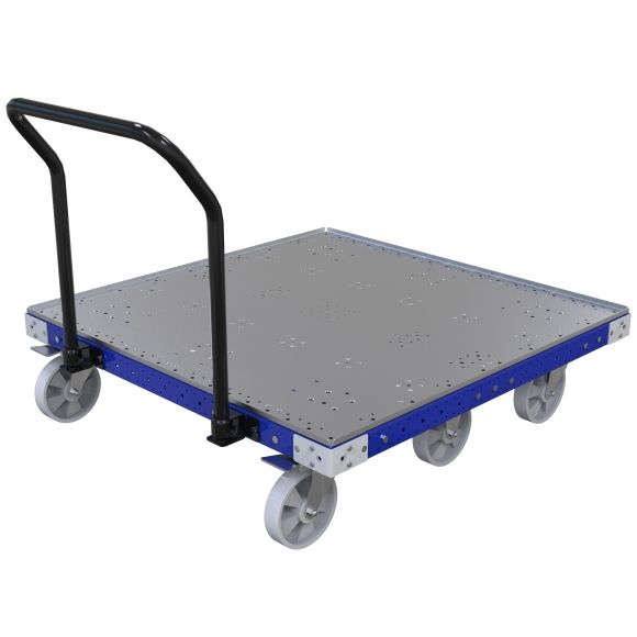 Flat deck cart designed to transport pallets and containers across the shop floor.