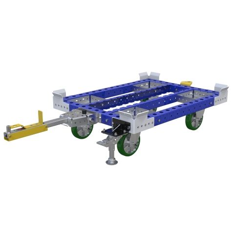 Standard tugger cart without a flat deck for transporting pallets and containers.