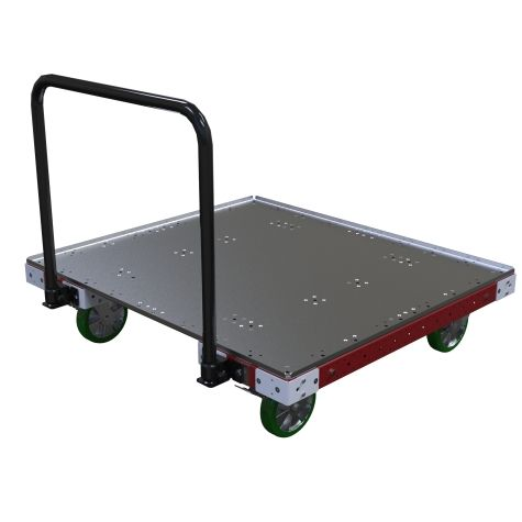 Pallet dolly designed to transport different sizes of pallets and containers.