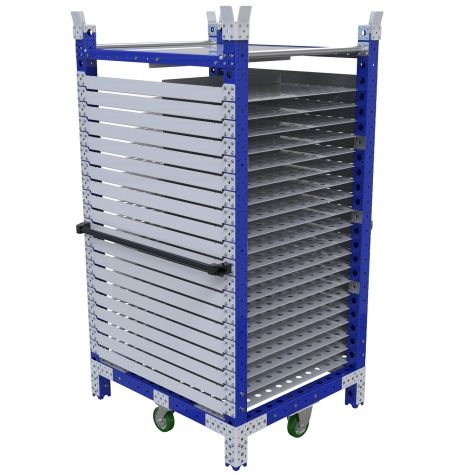 Flat shelf cart specially designed with19 levels of shelves.