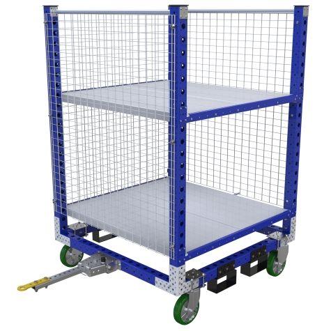 Tuggable flat shelf cart.