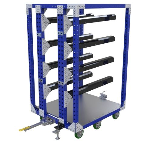 This hanging cart is a perfect solution for hanging rolls of different materials. It is possible to change the hangers according to what type of material you want to transport. Also, the bottom plate can be used to transport boxes or smaller components. The cart is equipped with a drop pin towbar, six high-quality polyurethane casters, and a floor brake.