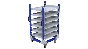 This flow shelf cart was designed to carry smaller materials including bins and boxes.