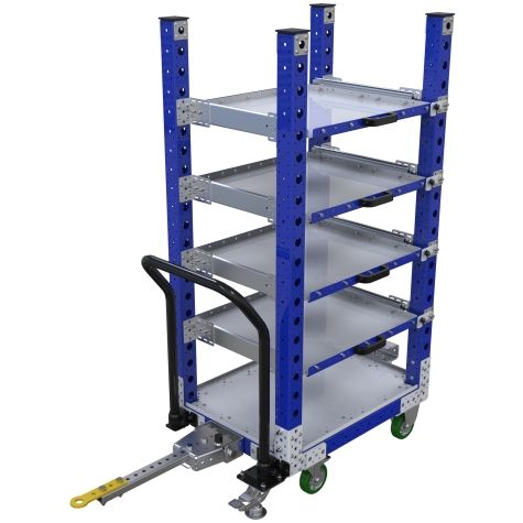 Extendable shelf cart that can be transported both manually and in a tugger train.