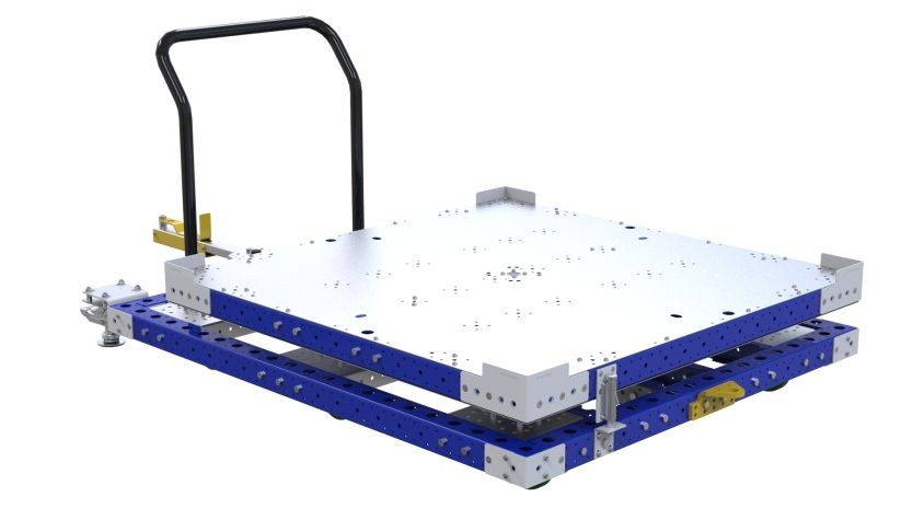 This pallet push cart comes equipped with a rotating platform.