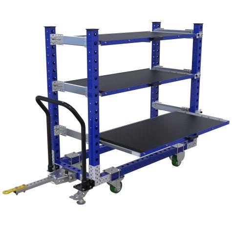 Flat shelf cart with extendable shelves.
