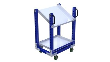 Shelf cart designed with one flat shelf and one flow shelf.