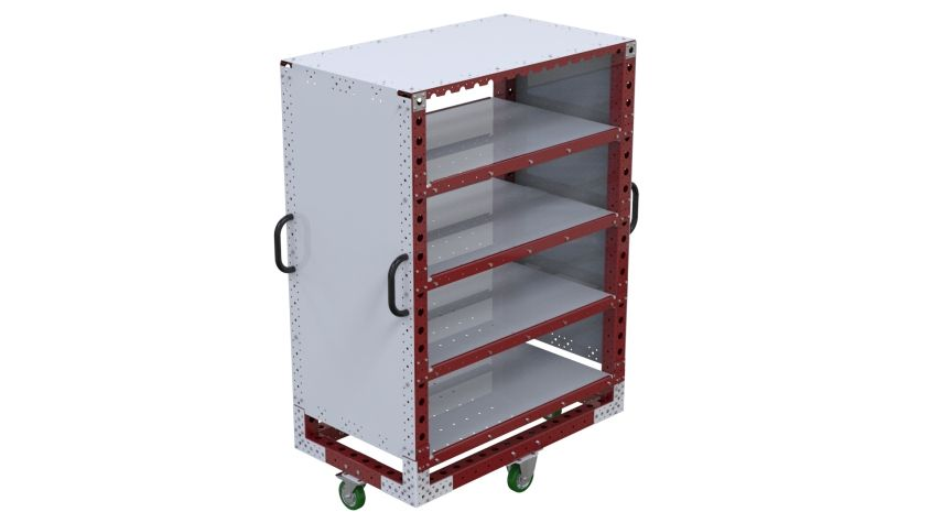 Custom designed cart for presenting tools to the operators.