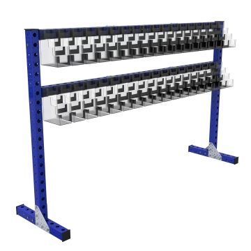 Specially designed kit cart for packing orders.