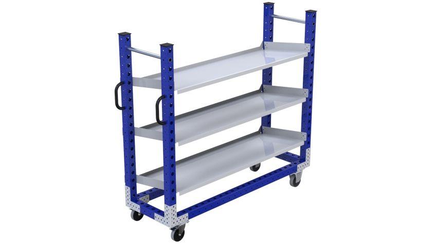 Narrow flow shelf cart