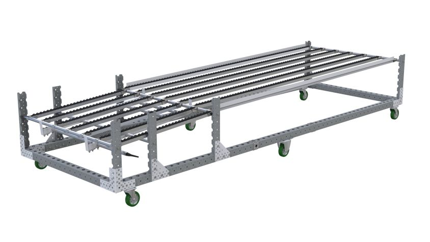 Roller rack for placing boxes or totes in the flow roller rails to feed assembly lines or production lines.