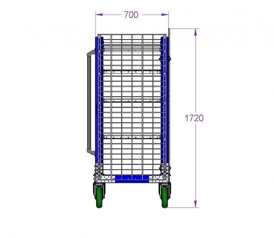 Shelf Cart with Fence 47 x 28 inch (1196 x 706 mm)