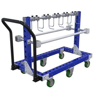This hanger cart was designed to store and transport various automotive parts.