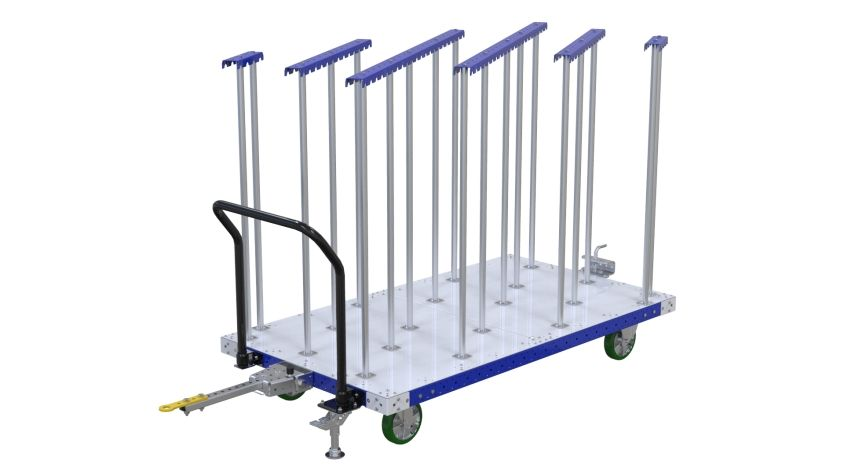 Material handling cart specially designed to transport cardboard pieces smoothly across the shop floor.