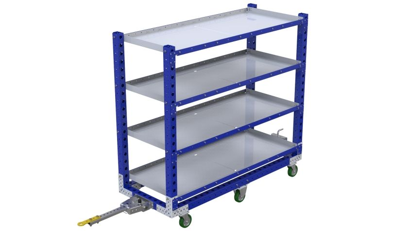 Tuggable four-level flat shelf cart.