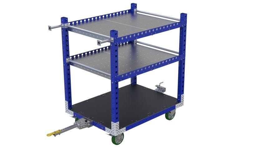 Tuggable three-level flat shelf cart.