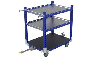 Tuggable three-level flat shelf cart.