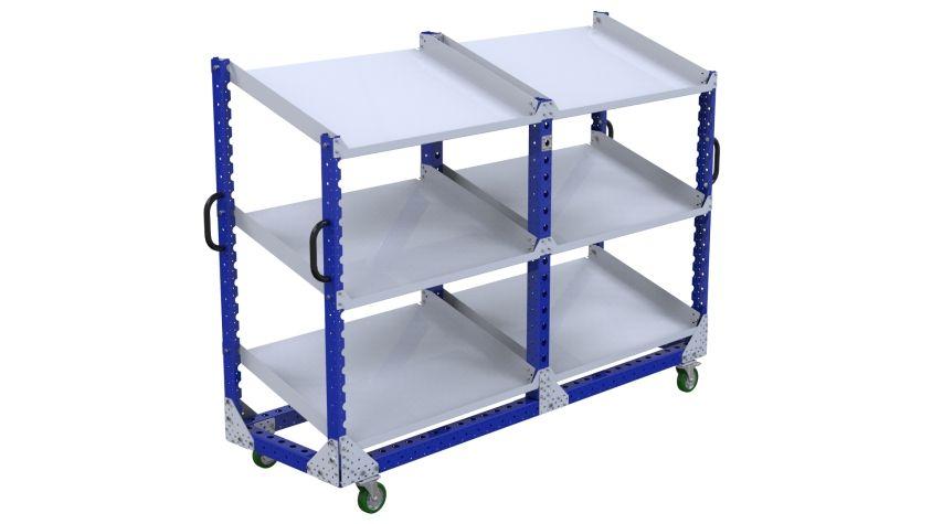 Three level flow shelf push cart.