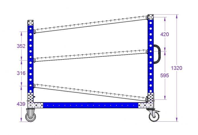 Flow Rack Trolley 1680 x 560 mm
