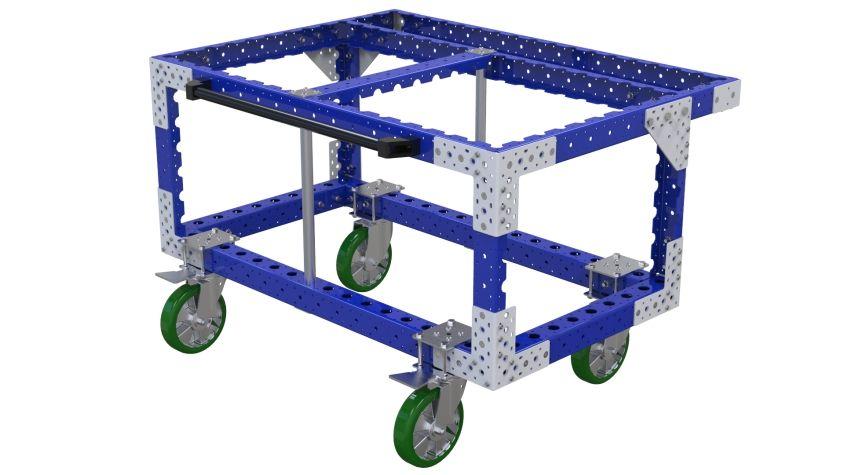 Robust push cart designed to transport large heavy trays