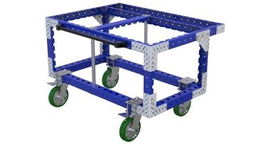 Robust push cart designed to transport large heavy trays