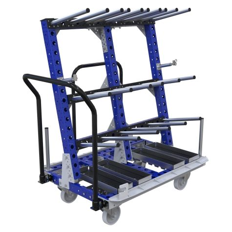 Material handling cart designed to store and transport kits of automotive components.