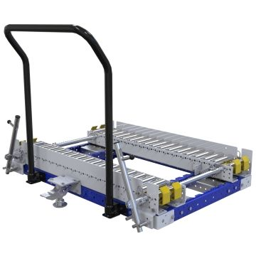 Conveyor push cart designed for pallets and containers.