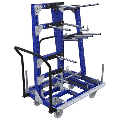This cart was designed to store and transport kits of automotive components between warehouse and assembly line with the help of an I-Frame.