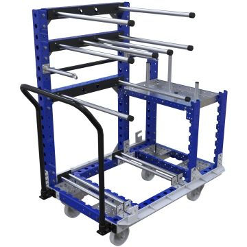This cart was designed to store and transport kits of automotive components between warehouse and assembly line with the help of an I-Frame. All surfaces that the parts may come in contact with has been covered in rubber and plastic protection. The cart comes equipped with a handlebar and four nylon swivel casters making it easy to maneuver in tight spaces.