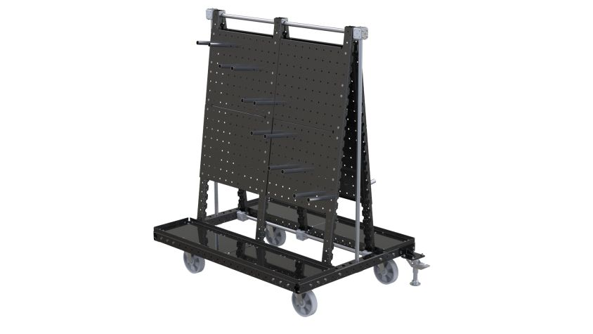 This cart was designed to be used at the assembly area to kit various components.