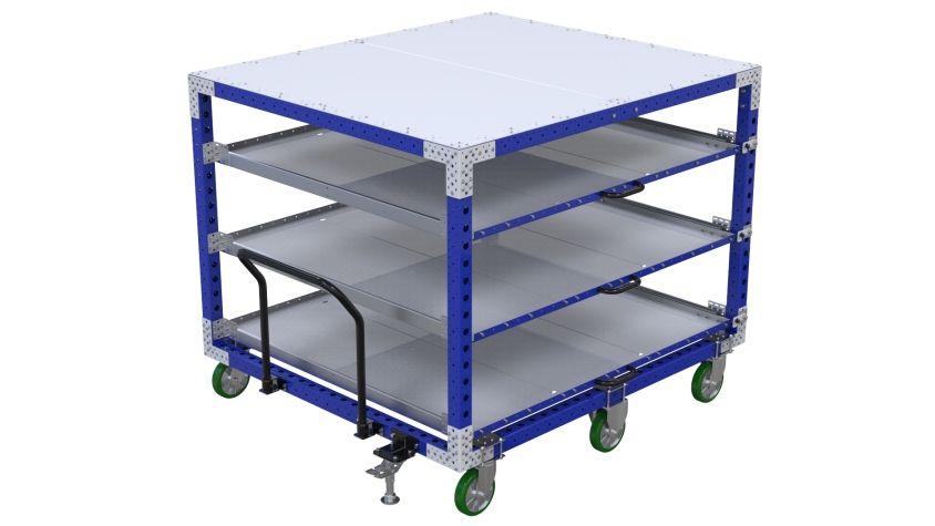 Large four-level shelf push cart.