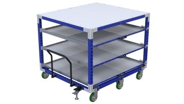 Large four-level shelf push cart.