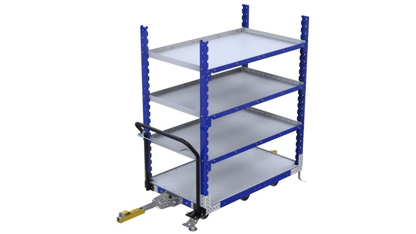 Four level tuggable flat shelf cart most commonly used to transport totes, bins and boxes from warehouse to assembly area.