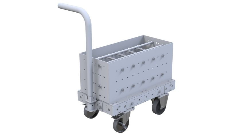 This cart was custom-designed to store and transport heavy bottles.